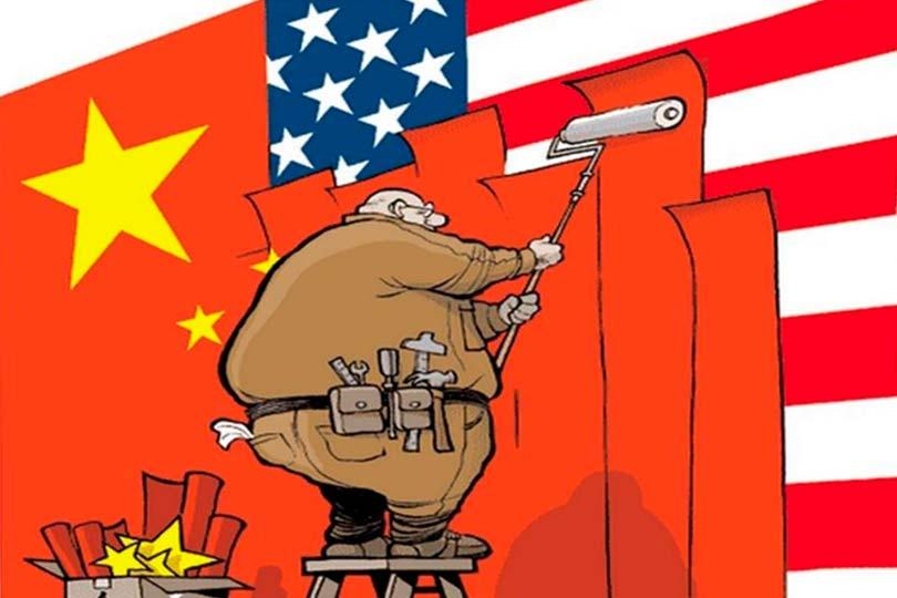 Флаг США закрывается китайским